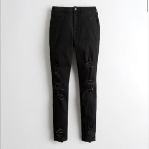 Hollister Black Super Skinny Ripped Jeans